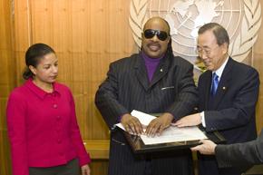 UN Secretary General Ban Ki-moon appoints Mr. Stevie Wonder, an internationally celebrated musician, as the new UN Messenger of Peace at UN Headquarters