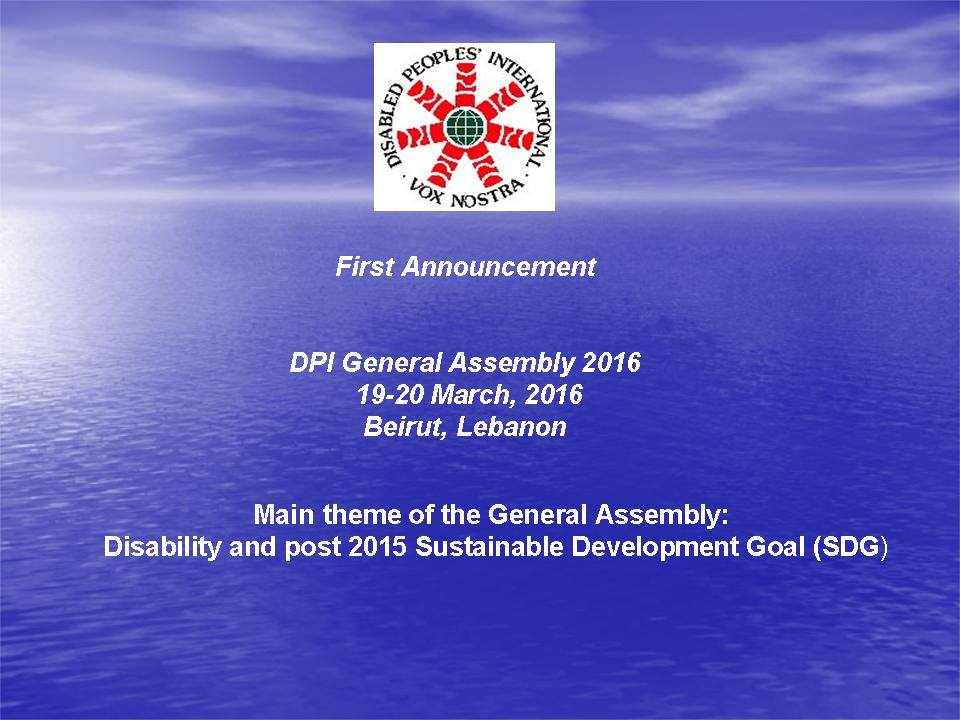 Announcement DPI General Assembly 2016